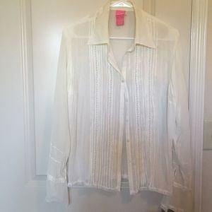Tops - Sheer Victorian Button Up Blouse- ivory